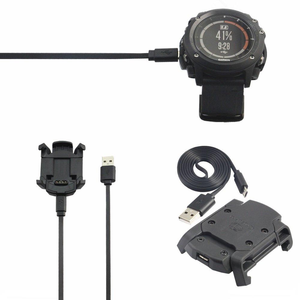 Meijunter Data Sync Cradle Charging Dock Desktop USB Charging Clip Charger Adapter for Garmin Fenix 3 HR/Fenix 3 GPS Sport Watch