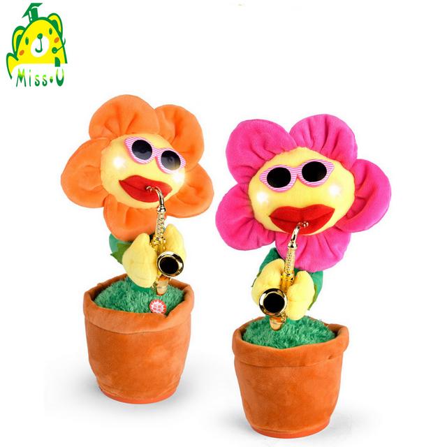 Singing&Dancing Enchanting Sunflower with Saxophone Soft Stuffed Plush Toys plush flower toy