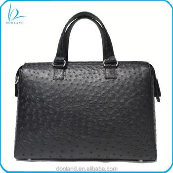 739fe6fca8fb Роскошные молнии из натуральной кожи страуса для мужчин Портфели Бизнес  Сумка, офисные женские туфли сумка