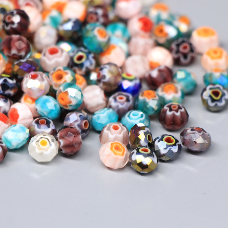 Mixed facettiertes millefiori perlen mit ab-finish