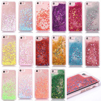 New product love heart stars quicksand liquid glitter cell phone case for iphone 6s/7/7 plus