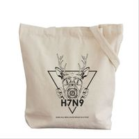 Simple printing patterns literary style cotton canvas bag