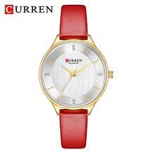 CURREN Для женщин часы Элитный бренд модные кожаные кварцевые женские часы с драгоценными камнями, часы-браслет, платье Водонепроницаемый жен...(Китай)