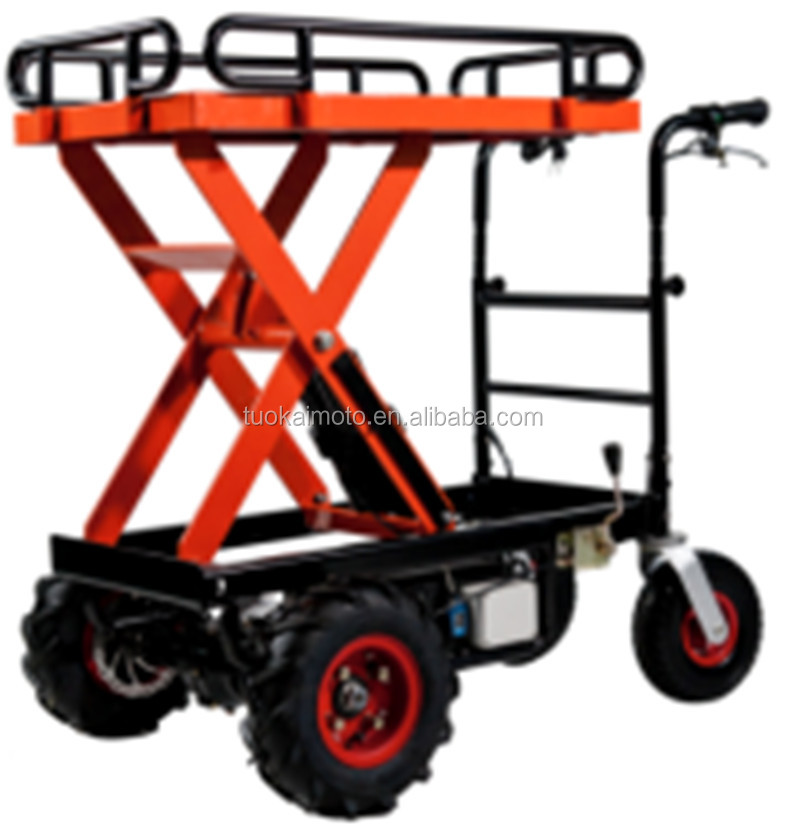 500kg electric trolley lift 4wheels platform lift hydraulic table Scissor Lift ELECTROMOTION 4WHEELS BARROW (TKS-HT01XE)