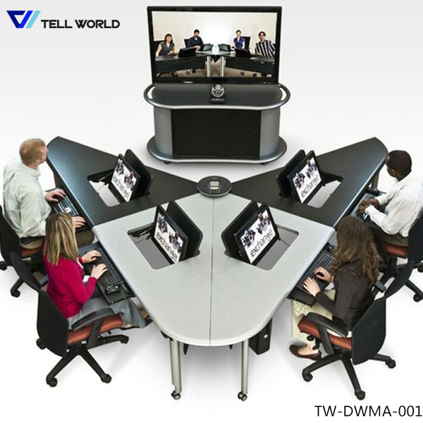 Vshaped Conference Table With Electric Outlet For Video Conference - V shaped conference table