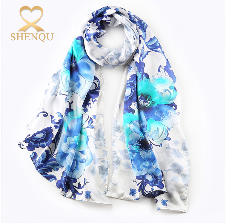 Wrapables Luxurious silk flowers artificial digital printing100% Charmeuse Silk Long Scarf