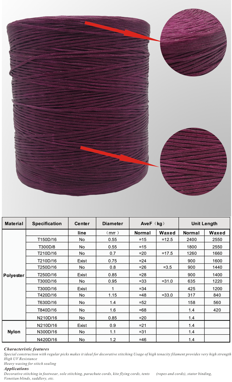 High Quality Polyester Exquisite Waxed Thread