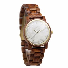 2017 vintage handmade custom logo wrist wood watch, wholesale quartz watch wood with marble dial