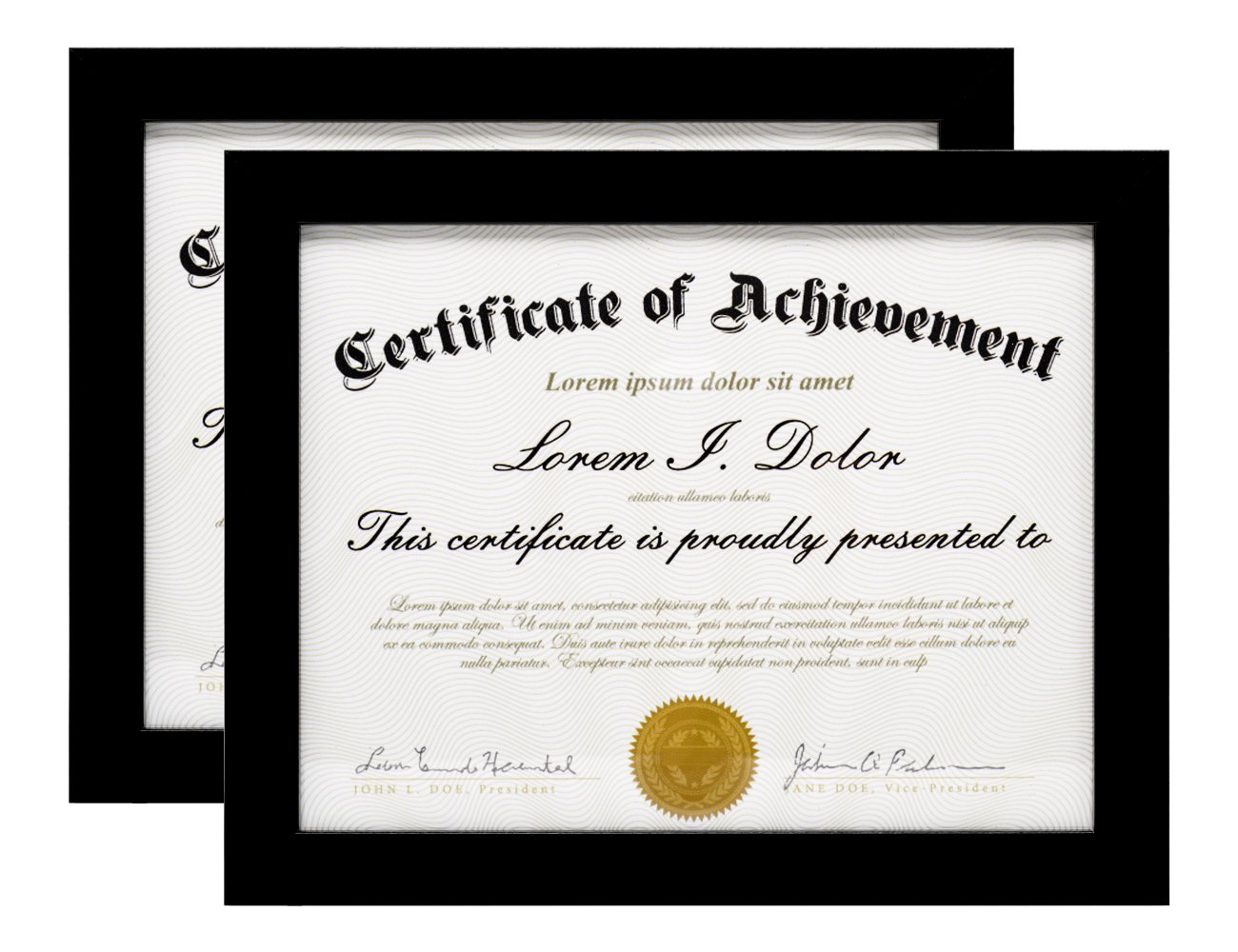 MeiC 2 Pack Document Frame - Made to Display Certificates 8.5x11 Inch - Document Frames, Certificate Frames, Standard Paper Frame Black