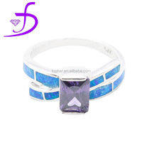 Wholesale 925 sterling silver Amethyst gemstone jewelry ring silver ring with opal stone