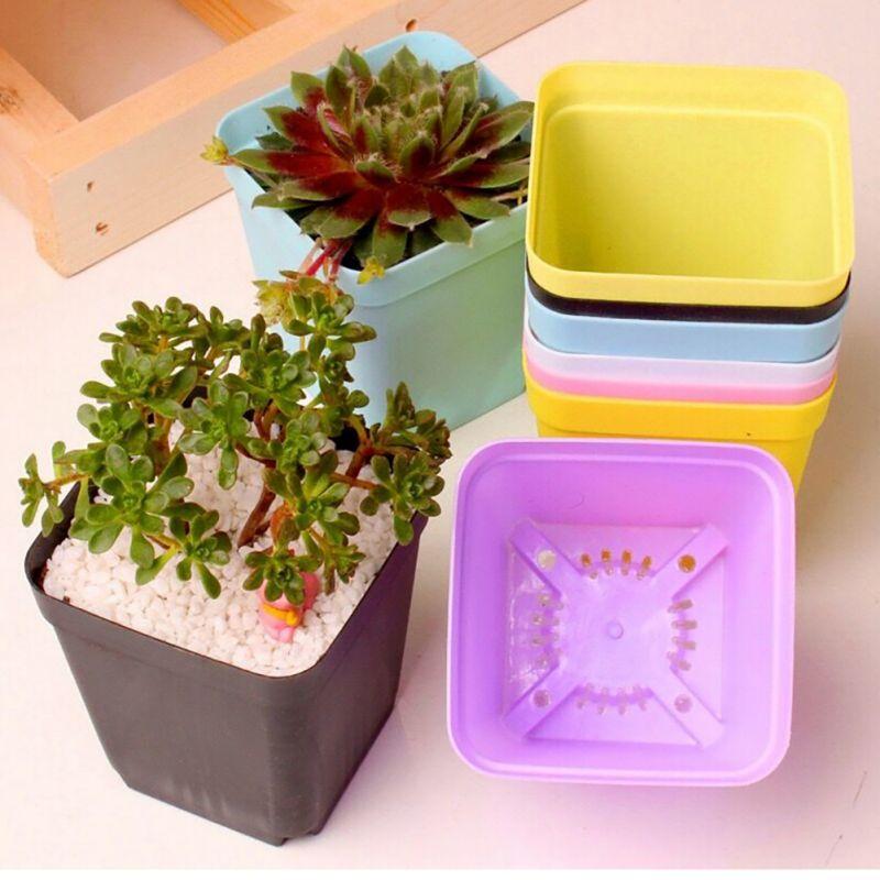 Mini Flower Pots Square Plastic Planting Pots Gardening Planter