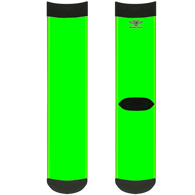 Buckle-Down Buckle-Down Socks Neon Green Crew Accessory, -Neon Green, Crew