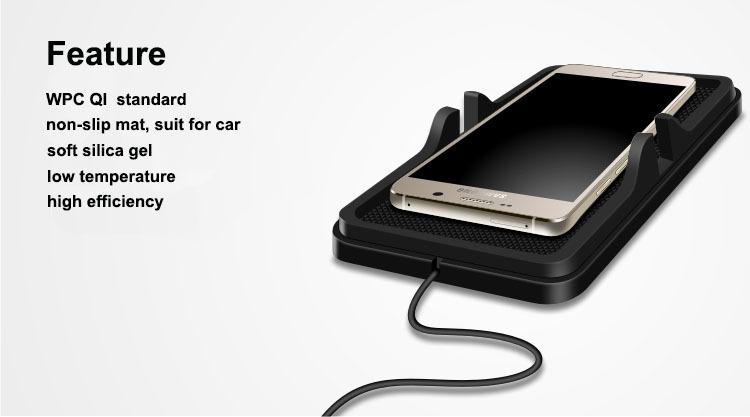 souple de silice gell qi sans fil chargeur de voiture sans fil de charge pad avec non slip mat. Black Bedroom Furniture Sets. Home Design Ideas