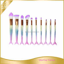 2017 New Product makeup kits for professionals 10PCS mermaid makeup brush set