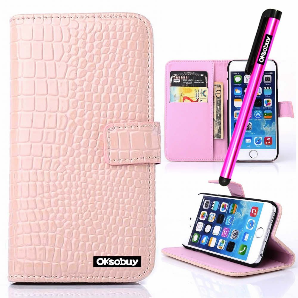 OkSoBuy® Apple iPhone 6 Case (4.7 Inch) Case Alligator texture PU Leather Wallet Magnet Bracket Combo Credit Card Holder Slots for Apple Iphone 6(4.7 Inch) CaseStylus (Pink Alligator texture)