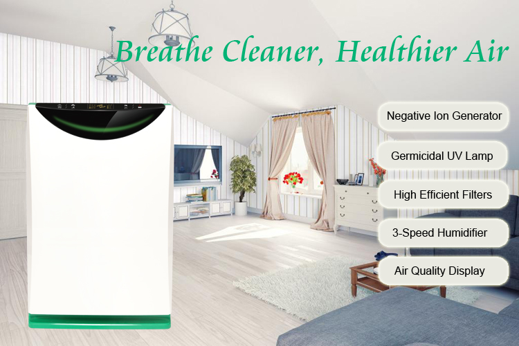 China Manufacture 21.6dB Portable Hepa Filter Home Air Cleaner with Water