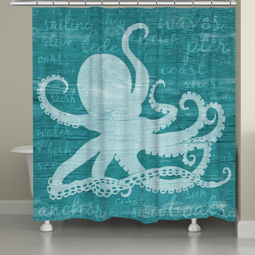 Get Quotations · Laural Home CWW72SC Octopus Words Shower Curtain, Teal