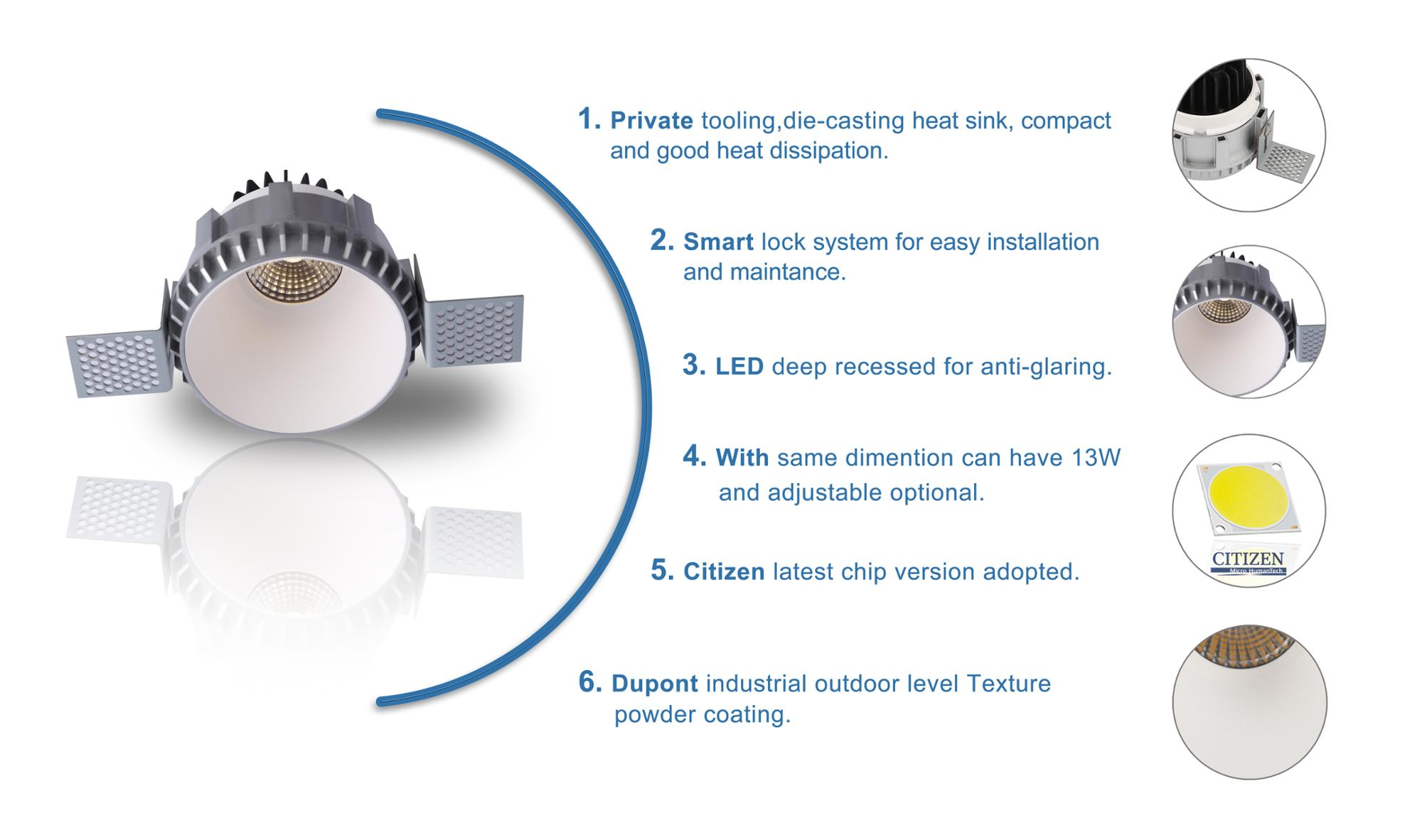 New Dali Ip44 10W Trimless Dimmable Ceiling Recessed Cob Led Downlight