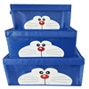 Blue linen fabric cloth canvas decorative fabric storage cube boxes with lids