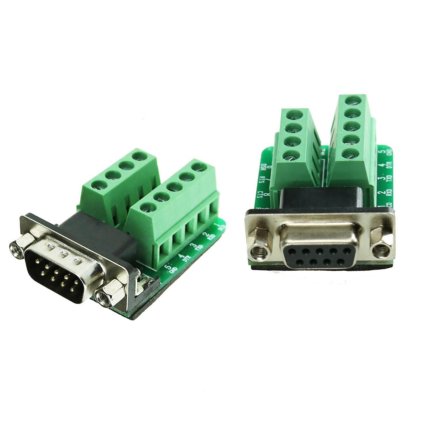 Swellder Connector Db9 D-sub Female Plug 9-pin Port 2 Row Terminal Breakout PCB Board Male Plug 9-pin Port 2 Row