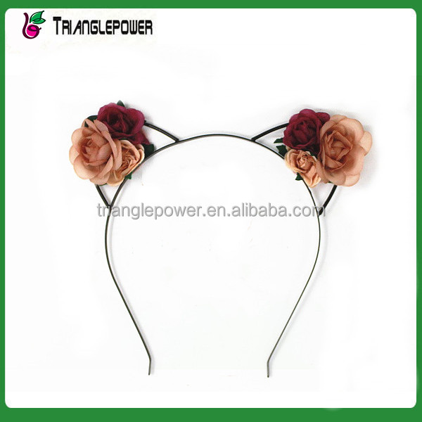 Lovely fabric rose flower metal ear headband cute alice band