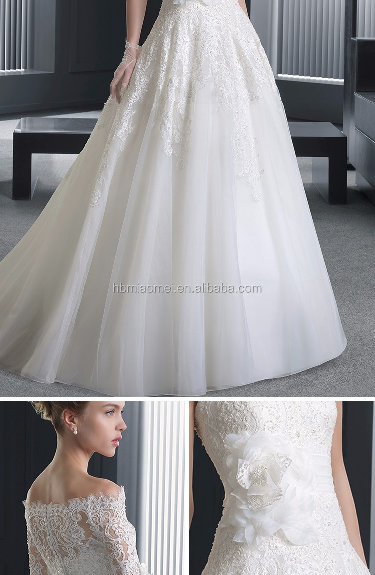 White color middle sleeve long design slim line laced for Wedding dresses for large breasts