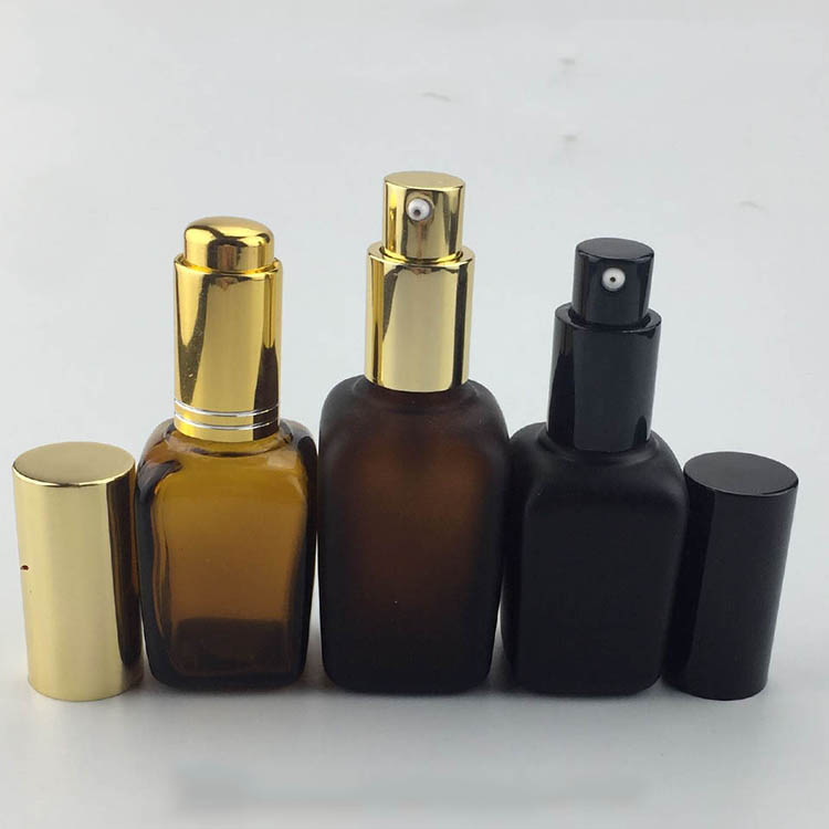 High quality amber pump spray cap square bottles for cosmetics