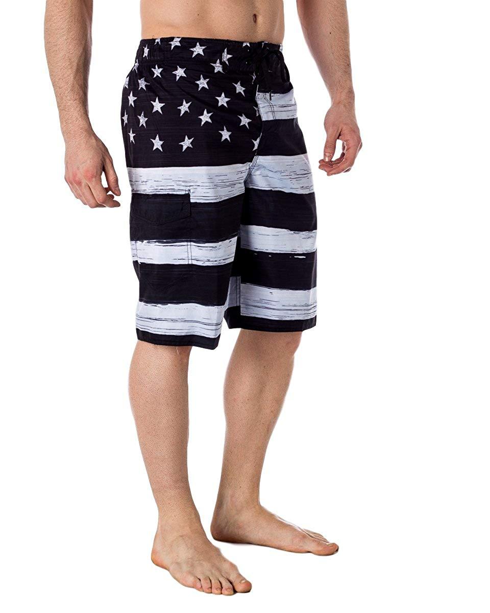 086486156209 Get Quotations · VbrandeD Men s American Flag Inspired Board Shorts Black M