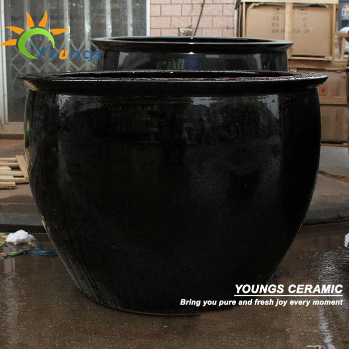 Special Large Chinese Black Glazed Ceramic Garden Flower Pots And Planters
