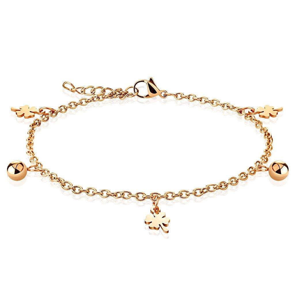Jinique JSB-7157 Rose Gold Stainless Steel Chain with Multi Dangle Ball Charm Anklet Bracelet