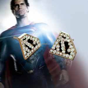 New Arrival Movie Jewelry Super Hero Superman Errings Enamel Rhinestone Triangle Superman Earrings For Women Jewelry