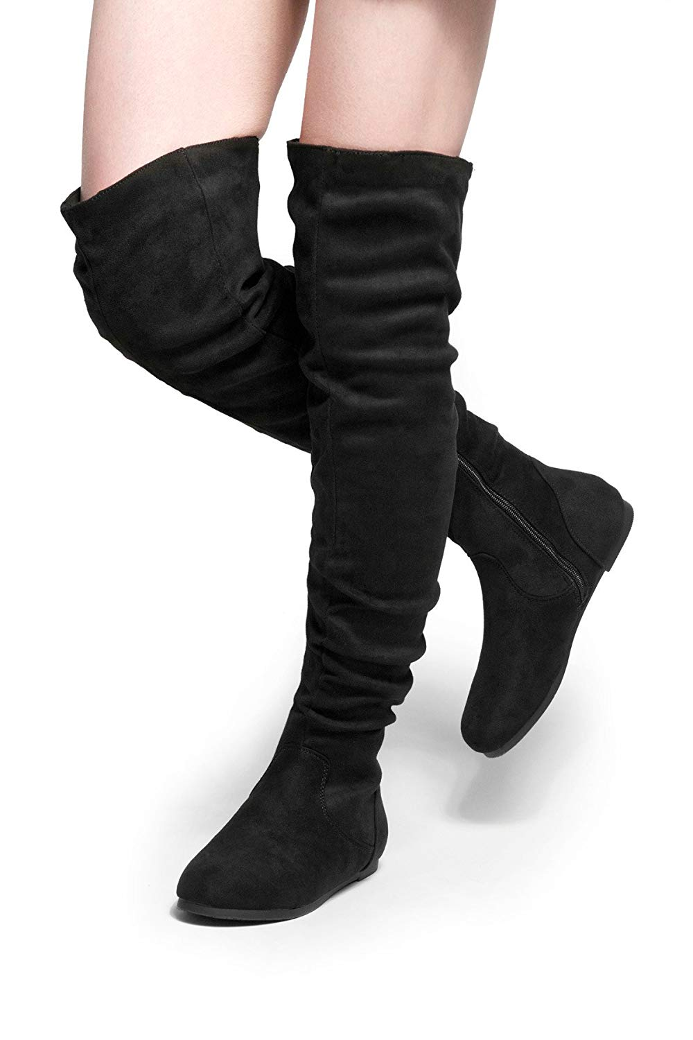 dd816cedcf6c Get Quotations · Herstyle Women s Odessa Over-the-Knee Thigh High Flat  Slouchly Shaft Low Heel Boots