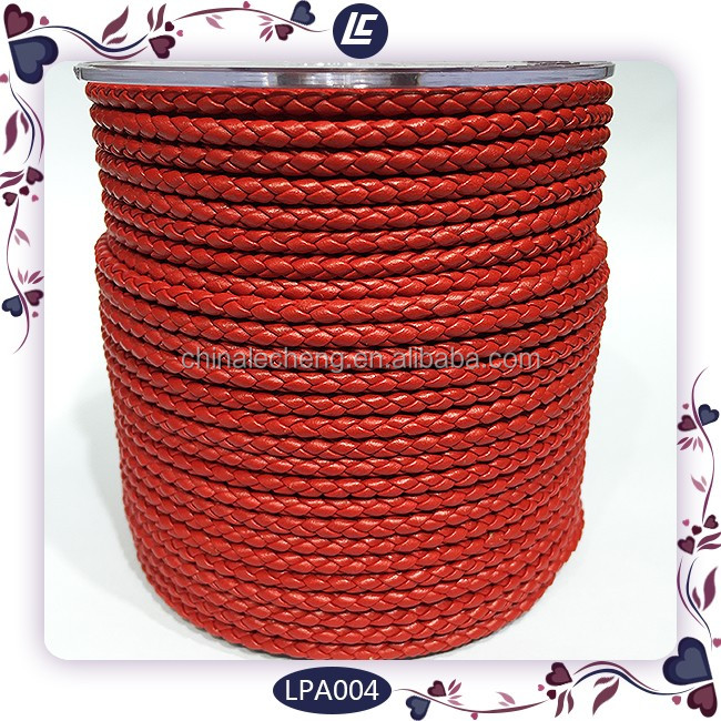3mm round real braided cowhide leather cord string for bracelet making
