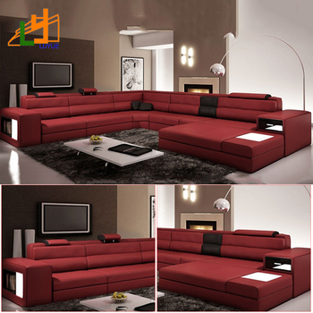 Gold Alibaba Supplier Modern Design L Shaped Genuine Leather Sofa Furniture Luxury  Sofa Set For Living
