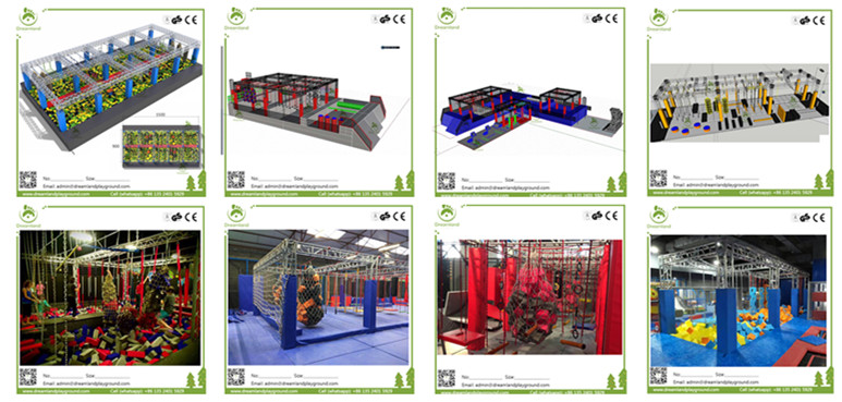 American TV Show Customized Adult Trampoline with Ninja Warrior Course