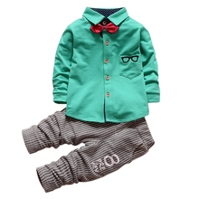0 4Years Baby Boys Girls 2 Pieces Clothes Sets Kids Children Glasses Bow Tie T shirts