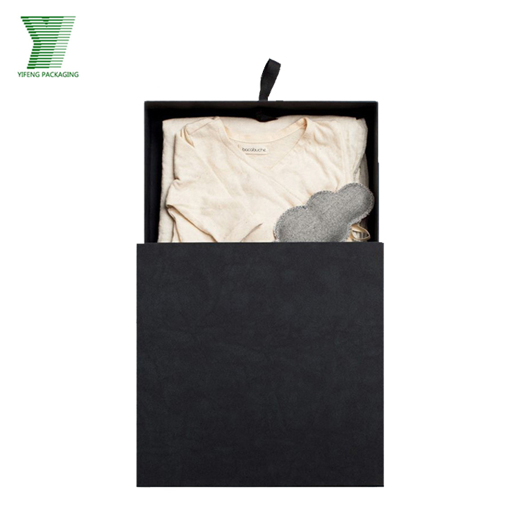 Chinese quality black luxury custom t-shirt packaging paper box with drawer