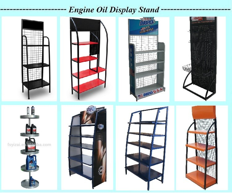 metal grid shelves/auto accessories display rack/Oil Display Rack