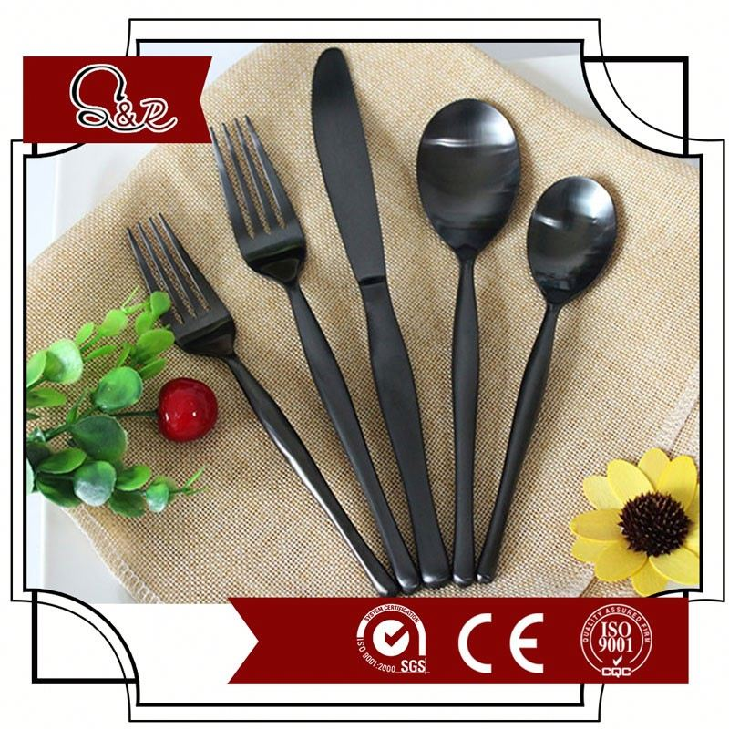 High Quality Black Cutlery/Stainless Steel Flatware/Tableware/spoons
