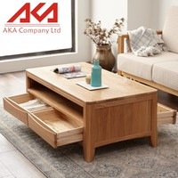 General Use European style natural oak solid wood two drawers end tables/sofa tables