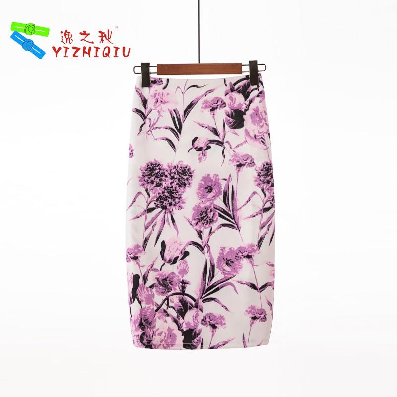 YIZHIQIU Flower Print Cotton Women Pencil Skirts
