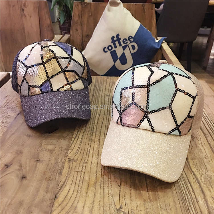 Custom design structured,curved bill,5 panel sequined mesh caps baseball caps