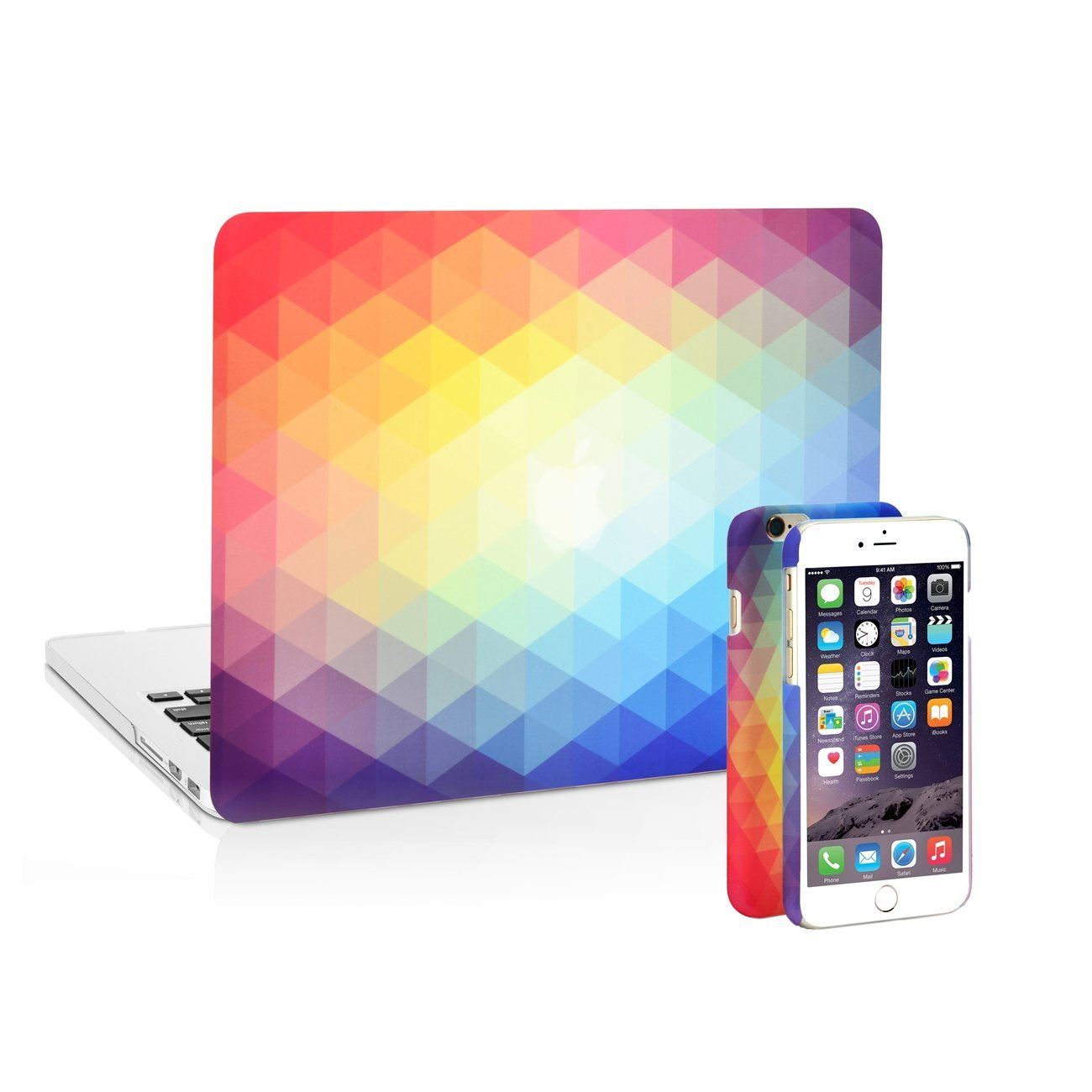 "UNIK CASE-2in1 iPhone (6/6s) Case with Matching Gradient Ombre Graphic Hard Shell Case for Retina 13"" Macbook Pro (A1502/A1425)"