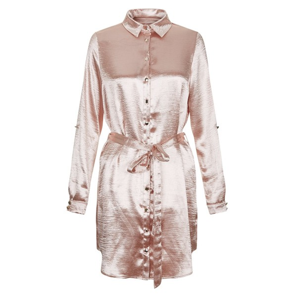 Ladies satin nighties pink plain button front sexy night sleeping dress  shirt long sleeve 72e95a35a