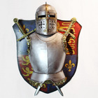 medieval armor helmet two swords with wall plaque 95U7002