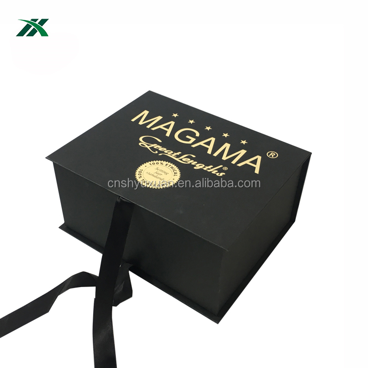 matte black hair extension box with ribbon closure
