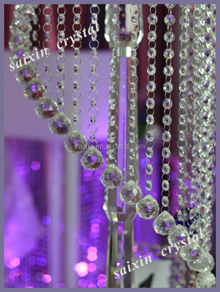 Shiny Beautiful Event Decor Wedding Backdrop Crystal Stage Decoration Hanging Crystals For
