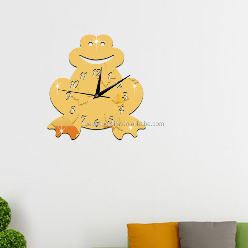 Diy High Quality Frog Mirror Acrylic Clock Home Children\'s Room ...