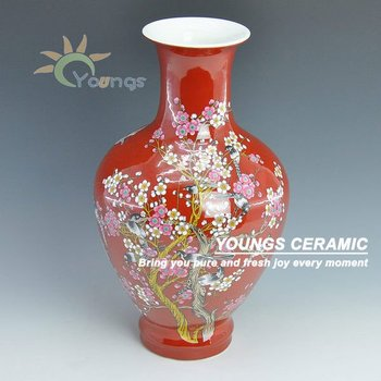 Chinese Red Vase With Maskot Pattern Buy Chinese Red Vasechinese