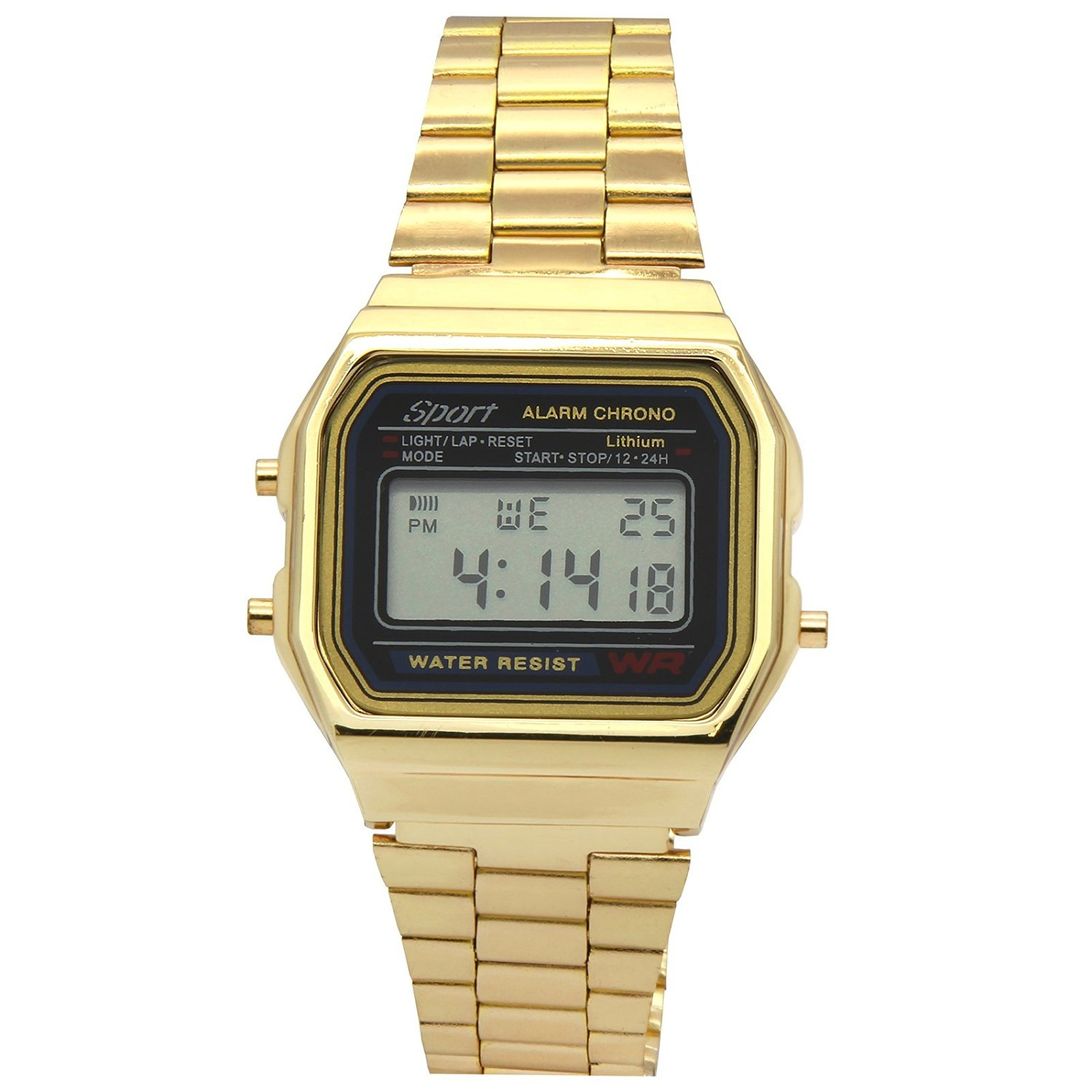 Mens Gold Toned Metal Band Black Face Sport Alarm Chrono LED Digital Wrist Watch Watches